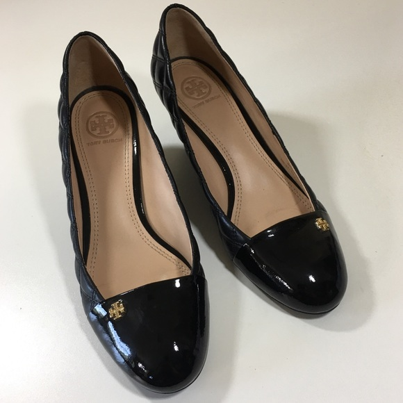 Tory Burch Shoes - 8.5 TORY BURCH patent, quilted leather wedges